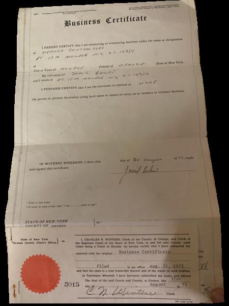 Seamless Gutters Business Certificate